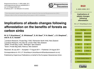 Implications of Albedo Changes Following... by Kirschbaum, M. U. F.