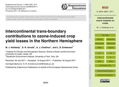 Intercontinental Trans-boundary Contribu... by Hollaway, M. J.