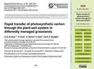 Rapid Transfer of Photosynthetic Carbon ... by De Deyn, G. B.