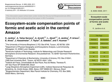 Ecosystem-scale Compensation Points of F... by Jardine, K.