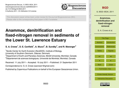 Anammox, Denitrification and Fixed-nitro... by Crowe, S. A.