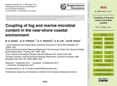 Coupling of Fog and Marine Microbial Con... by Dueker, M. E.
