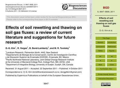 Effects of Soil Rewetting and Thawing on... by Kim, D.-g.