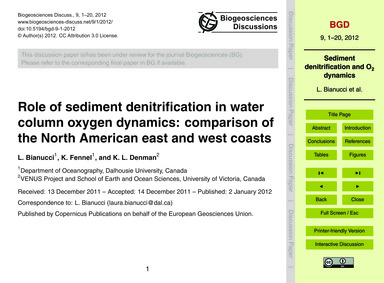 Role of Sediment Denitrification in Wate... by Bianucci, L.
