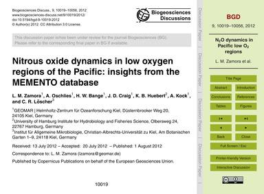 Nitrous Oxide Dynamics in Low Oxygen Reg... by Zamora, L. M.
