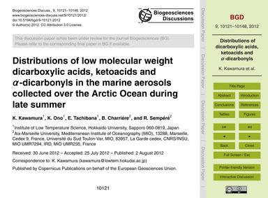 Distributions of Low Molecular Weight Di... by Kawamura, K.