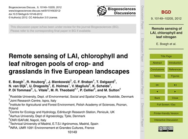 Remote Sensing of Lai, Chlorophyll and L... by Boegh, E.