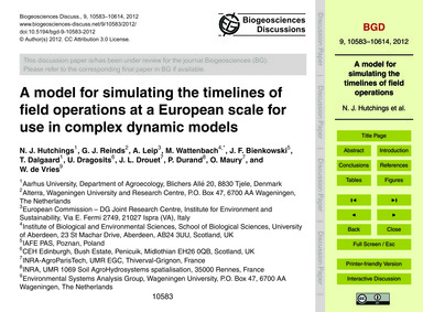 A Model for Simulating the Timelines of ... by Hutchings, N. J.