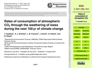 Rates of Consumption of Atmospheric Co2 ... by Goddéris, Y.