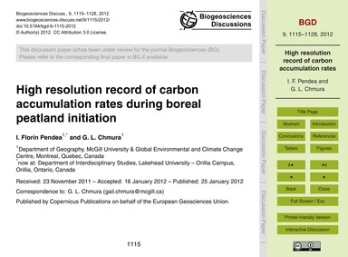 High Resolution Record of Carbon Accumul... by Florin Pendea, I.