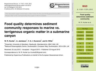 Food Quality Determines Sediment Communi... by Hunter, W. R.