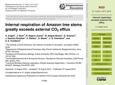 Internal Respiration of Amazon Tree Stem... by Angert, A.