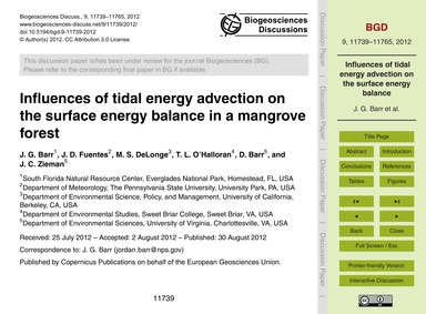 Influences of Tidal Energy Advection on ... by Barr, J. G.