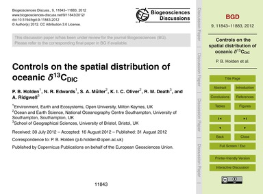 Controls on the Spatial Distribution of ... by Holden, P. B.