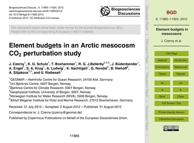 Element Budgets in an Arctic Mesocosm Co... by Czerny, J.