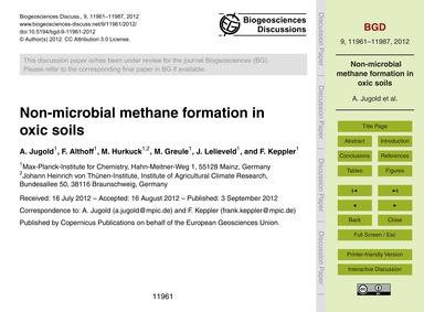 Non-microbial Methane Formation in Oxic ... by Jugold, A.