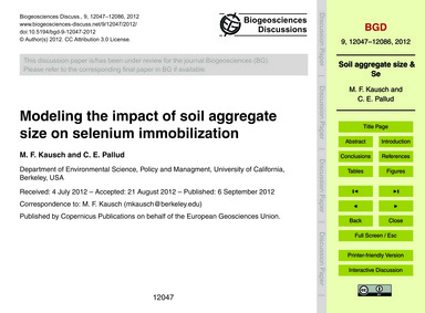 Modeling the Impact of Soil Aggregate Si... by Kausch, M. F.