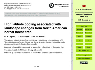 High Latitude Cooling Associated with La... by Rogers, B. M.