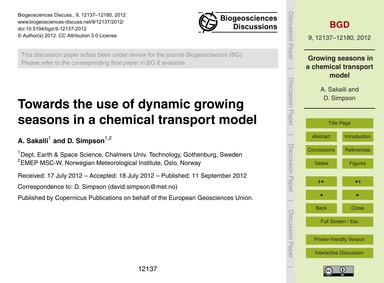 Towards the Use of Dynamic Growing Seaso... by Sakalli, A.