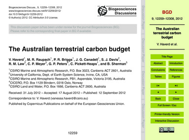 The Australian Terrestrial Carbon Budget... by Haverd, V.