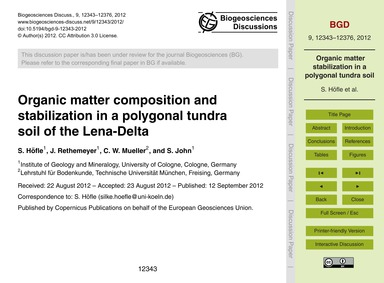 Organic Matter Composition and Stabiliza... by Höfle, S.