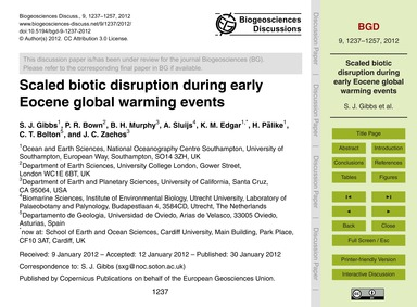 Scaled Biotic Disruption During Early Eo... by Gibbs, S. J.