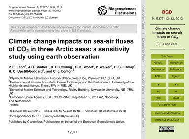 Climate Change Impacts on Sea-air Fluxes... by Land, P. E.
