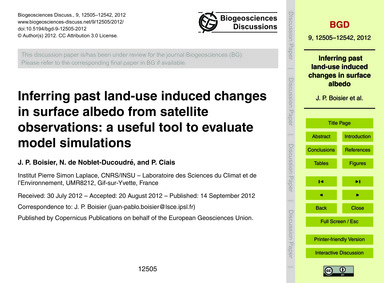 Inferring Past Land-use Induced Changes ... by Boisier, J. P.