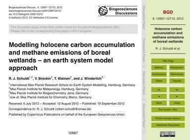 Modelling Holocene Carbon Accumulation a... by Schuldt, R. J.