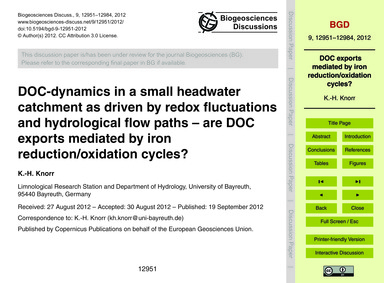 Doc-dynamics in a Small Headwater Catchm... by Knorr, K.-h.
