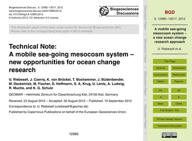 Technical Note: a Mobile Sea-going Mesoc... by Riebesell, U.