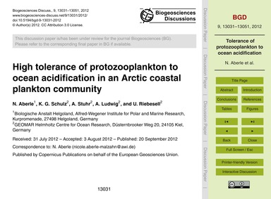 High Tolerance of Protozooplankton to Oc... by Aberle, N.
