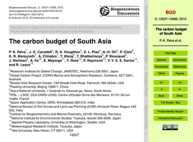 The Carbon Budget of South Asia : Volume... by Patra, P. K.