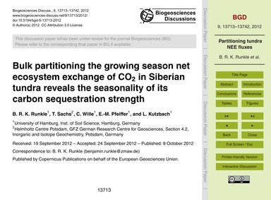 Bulk Partitioning the Growing Season Net... by Runkle, B. R. K.