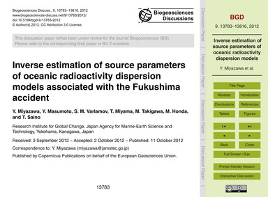Inverse Estimation of Source Parameters ... by Miyazawa, Y.