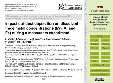 Impacts of Dust Deposition on Dissolved ... by Wuttig, K.