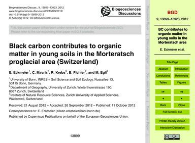 Black Carbon Contributes to Organic Matt... by Eckmeier, E.