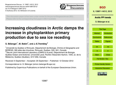 Increasing Cloudiness in Arctic Damps th... by Bélanger, S.