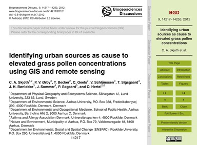 Identifying Urban Sources as Cause to El... by Skjøth, C. A.