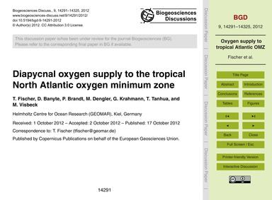 Diapycnal Oxygen Supply to the Tropical ... by Fischer, T.