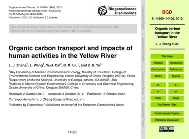 Organic Carbon Transport and Impacts of ... by Zhang, L. J.