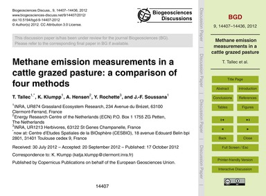 Methane Emission Measurements in a Cattl... by Tallec, T.