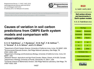 Causes of Variation in Soil Carbon Predi... by Todd-brown, K. E. O.