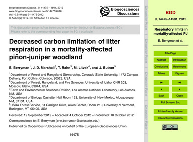 Decreased Carbon Limitation of Litter Re... by Berryman, E.