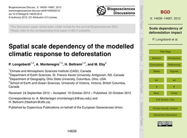 Spatial Scale Dependency of the Modelled... by Longobardi, P.