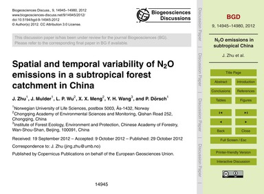 Spatial and Temporal Variability of N2O ... by Zhu, J.
