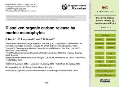 Dissolved Organic Carbon Release by Mari... by Barrón, C.