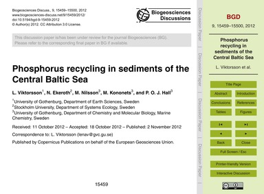 Phosphorus Recycling in Sediments of the... by Viktorsson, L.