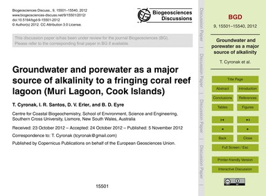 Groundwater and Porewater as a Major Sou... by Cyronak, T.