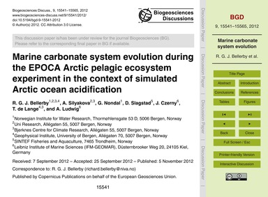 Marine Carbonate System Evolution During... by Beller, R. G. J.